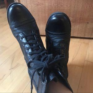 Nine West • black leather combat boots • size 7.5